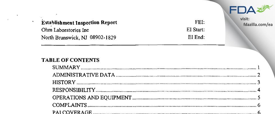 Ohm Labs FDA inspection 483 Apr 2004