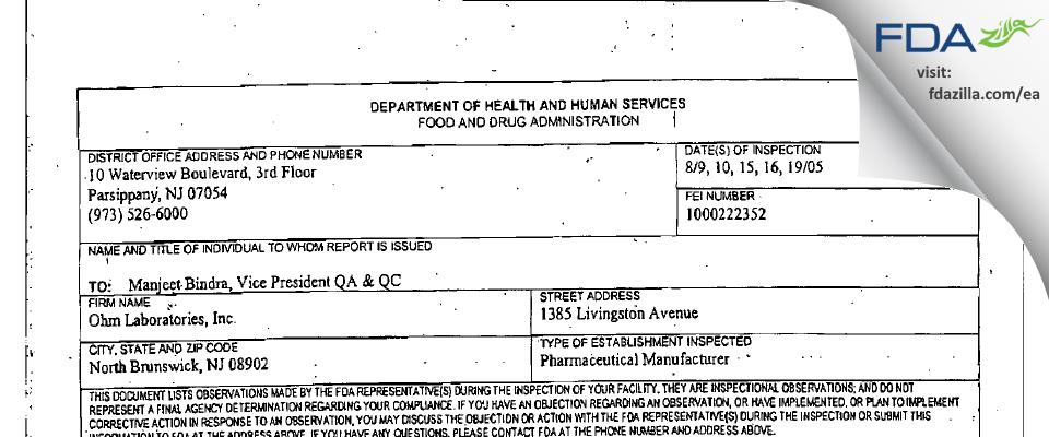 Ohm Labs FDA inspection 483 Aug 2005