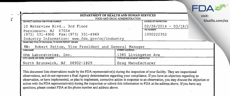 Ohm Labs FDA inspection 483 Mar 2014
