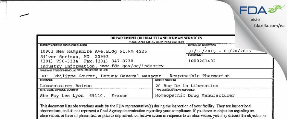 Laboratoires Boiron FDA inspection 483 Jan 2015