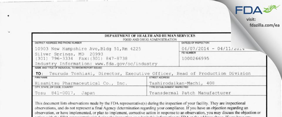 Hisamitsu Pharmaceutical FDA inspection 483 Apr 2014