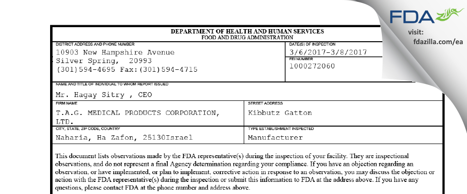 T.A.G. MEDICAL PRODUCTS FDA inspection 483 Mar 2017