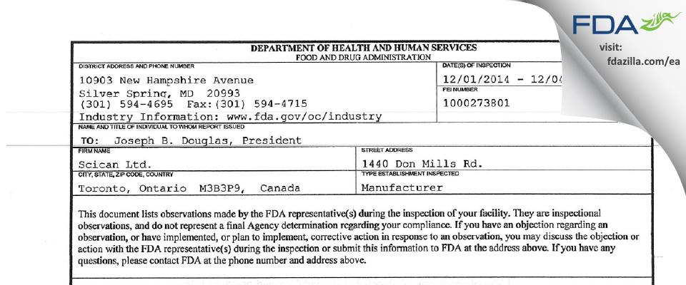 Scican FDA inspection 483 Dec 2014