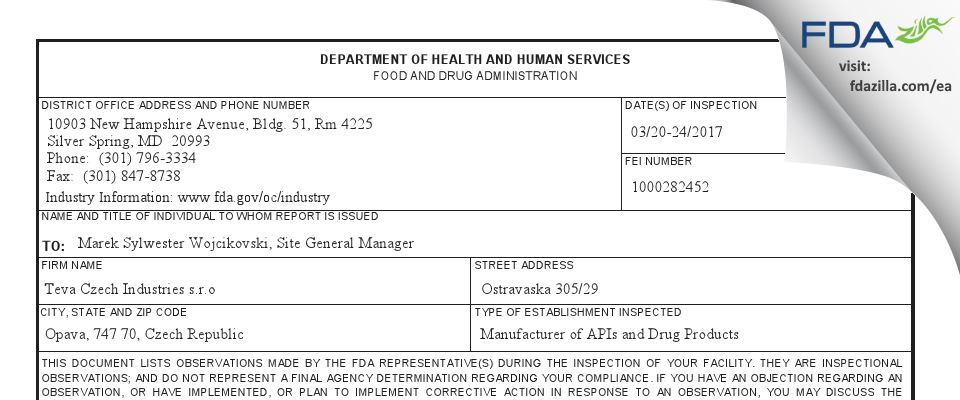 Teva Czech Industries s.r.o. FDA inspection 483 Mar 2017