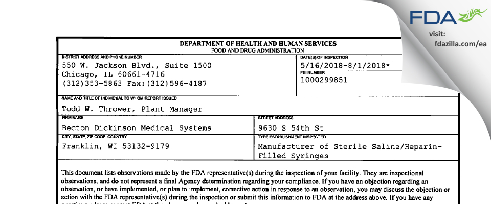 Becton Dickinson Medical Systems FDA inspection 483 Aug 2018