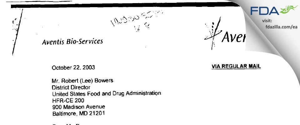 Aventis Bio-Services FDA inspection 483 Jul 2003