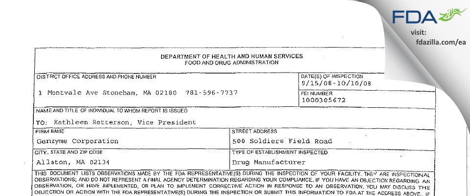 Sanofi Genzyme FDA inspection 483 Oct 2008