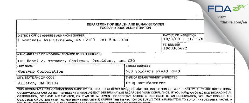 Sanofi Genzyme FDA inspection 483 Nov 2009