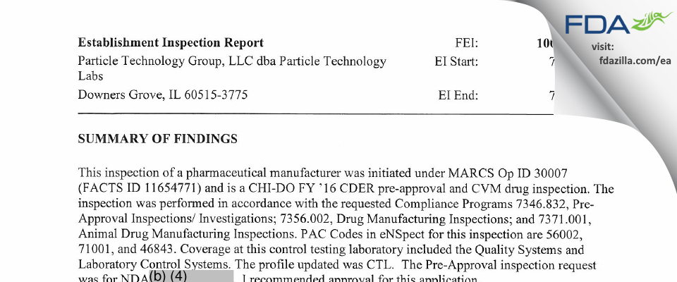 Particle Technology Group dba Particle Technology Labs FDA inspection 483 Jul 2016