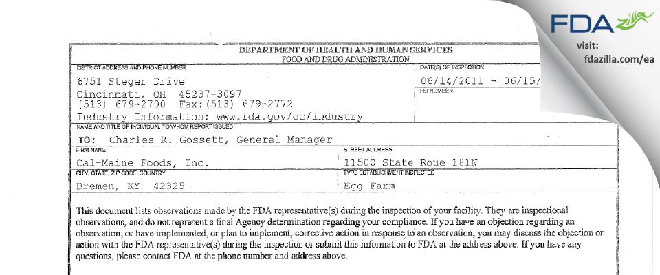 Cal-Maine Foods FDA inspection 483 Jun 2011