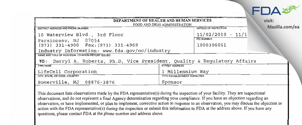 LifeCell, A Wholly Owned Subsidiary of Allergan FDA inspection 483 Nov 2010