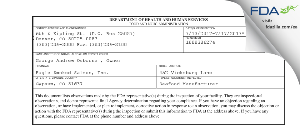 Eagle Smoked Salmon FDA inspection 483 Jul 2017