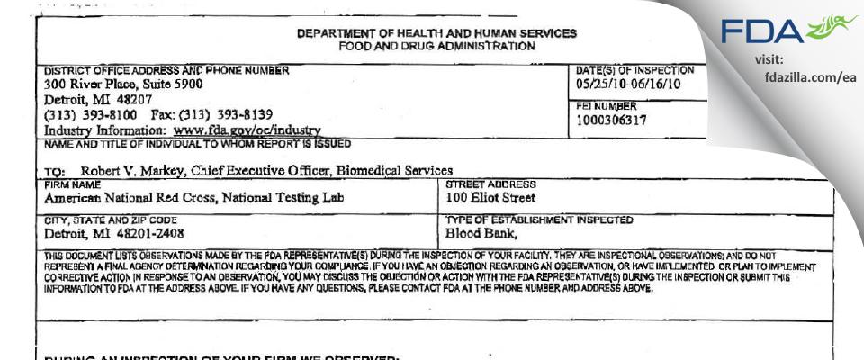 American National Red Cross National Testing Lab FDA inspection 483 Jun 2010