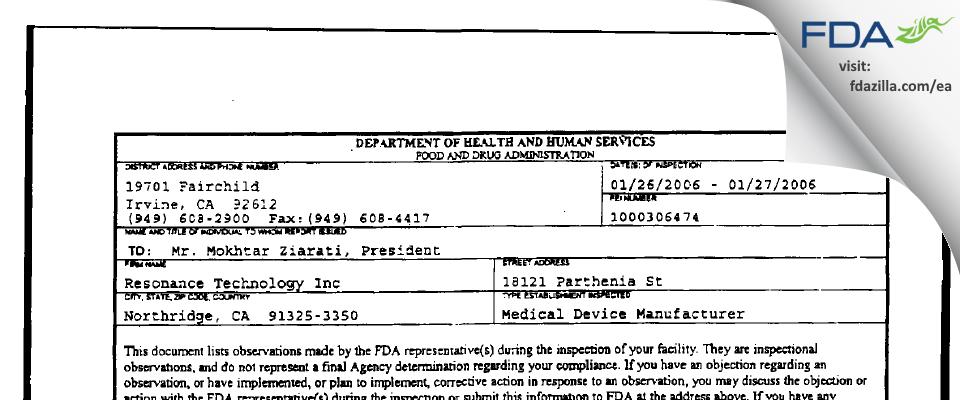 Resonance Technology FDA inspection 483 Jan 2006