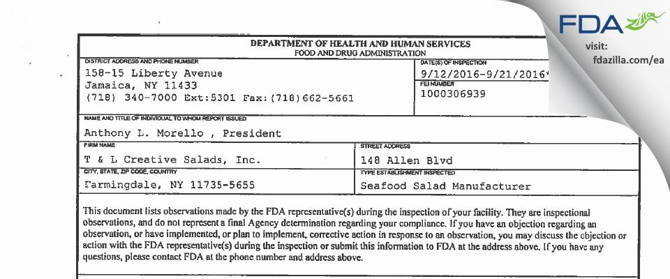 T & L Creative Salads FDA inspection 483 Sep 2016