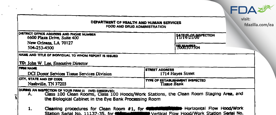 DCI Donor Services Tissue Services Division FDA inspection 483 Nov 2000