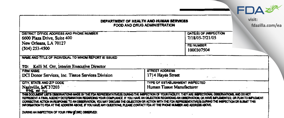 DCI Donor Services Tissue Services Division FDA inspection 483 Jul 2005