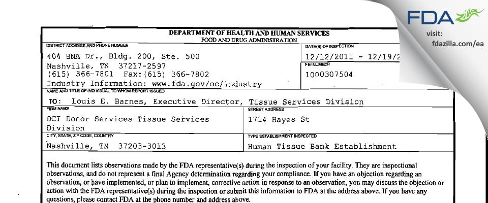 DCI Donor Services Tissue Services Division FDA inspection 483 Dec 2011