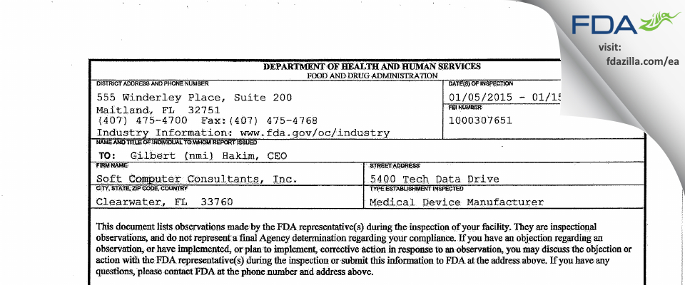 Soft Computer Consultants FDA inspection 483 Jan 2015