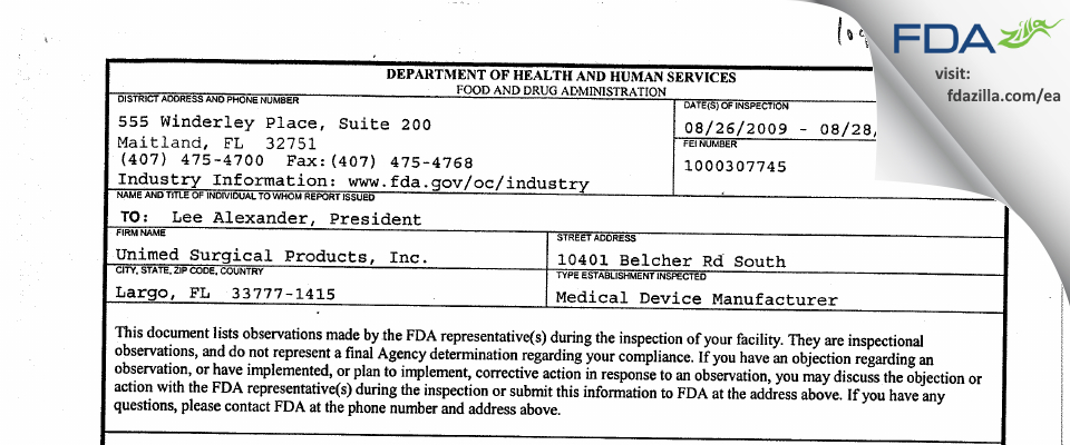 Unimed Surgical Products FDA inspection 483 Aug 2009