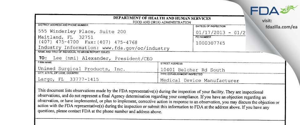 Unimed Surgical Products FDA inspection 483 Jan 2013