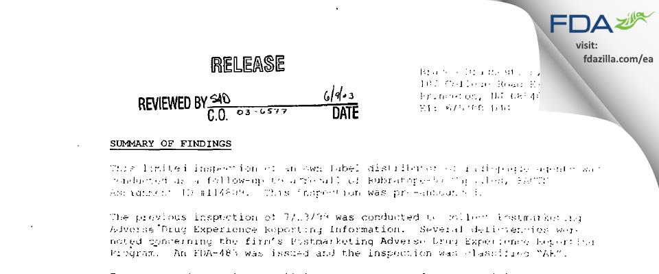 Bracco Diagnostics FDA inspection 483 Jun 2000