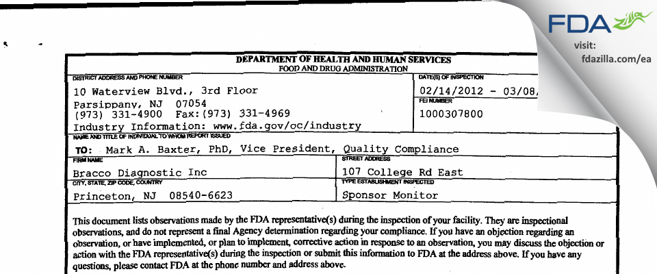 Bracco Diagnostics FDA inspection 483 Mar 2012