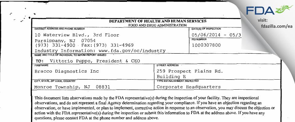 Bracco Diagnostics FDA inspection 483 May 2014