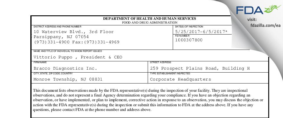 Bracco Diagnostics FDA inspection 483 Jun 2017