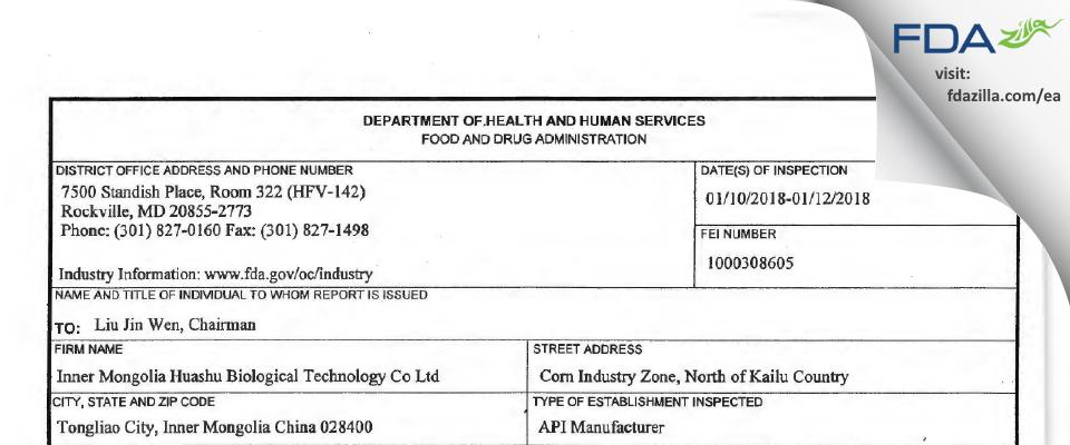 Inner Mongolia Huashu Biological Technology FDA inspection 483 Jan 2018