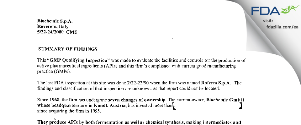 Sandoz Industrial Products S.p.A. FDA inspection 483 May 2000
