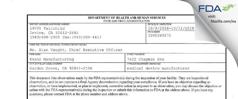 Evans Manufacturing FDA inspection 483 Oct 2018