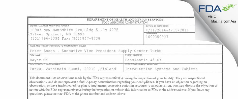 Bayer OY FDA inspection 483 Apr 2016
