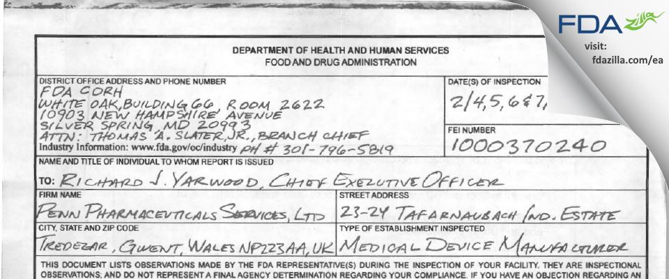 Penn Pharmaceutical Services FDA inspection 483 Feb 2013