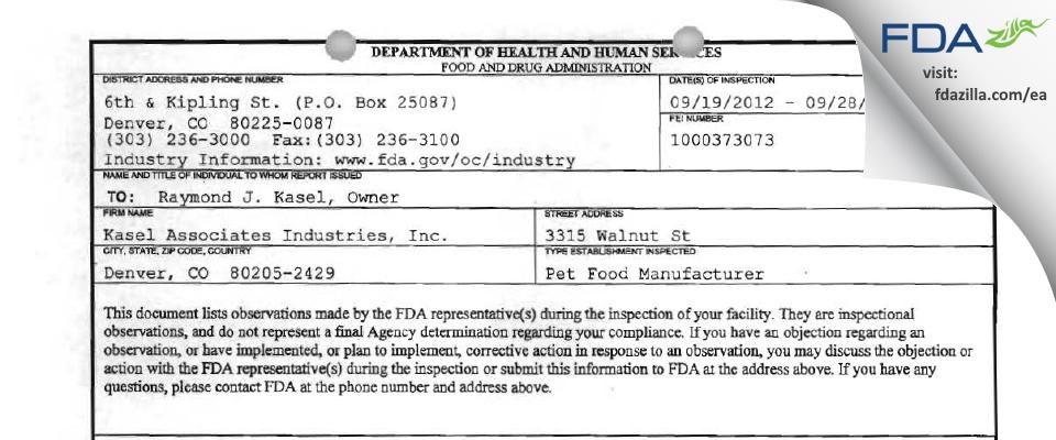 Kasel Associates Industries FDA inspection 483 Sep 2012