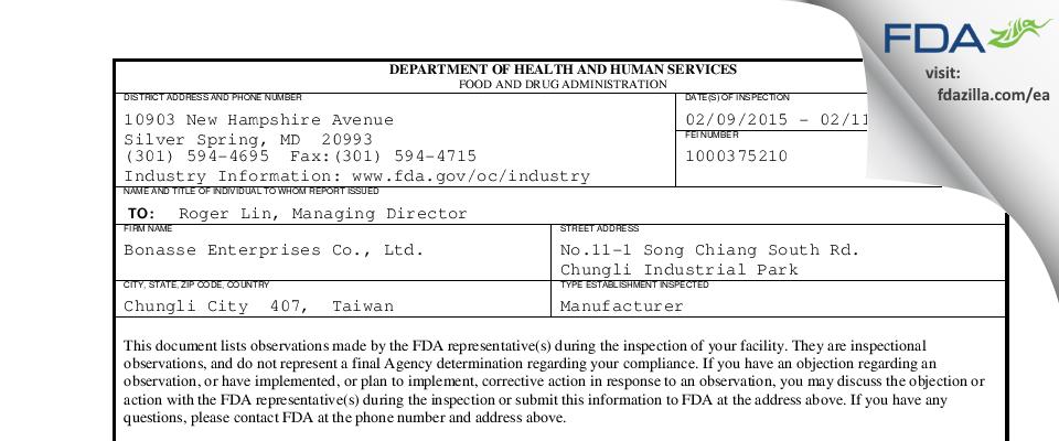 Bonasse Enterprises FDA inspection 483 Feb 2015
