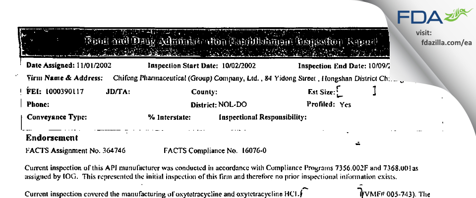 Chifeng Pharmaceutical Company FDA inspection 483 Oct 2002