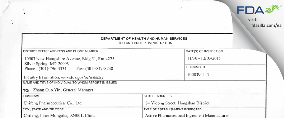 Chifeng Pharmaceutical Company FDA inspection 483 Dec 2015