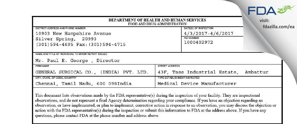 GENERAL SURGICAL CO., (INDIA) PVT. FDA inspection 483 Apr 2017