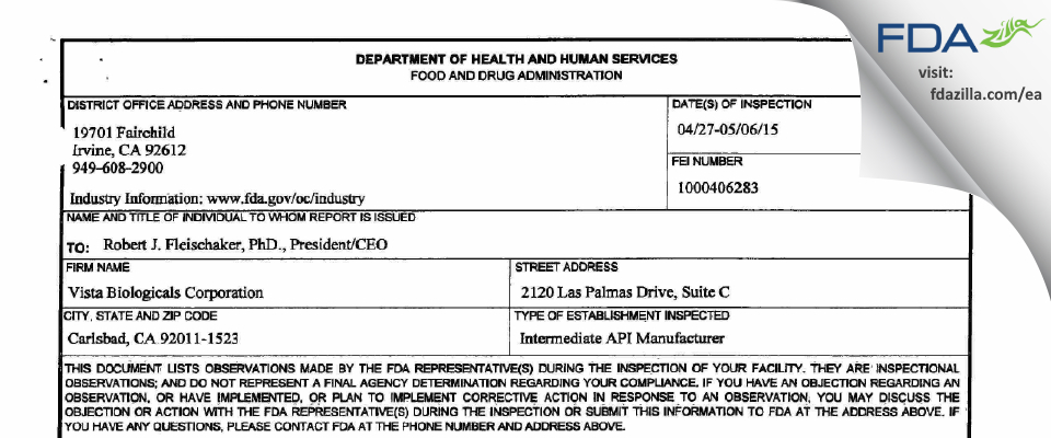 Vista Biologicals FDA inspection 483 May 2015