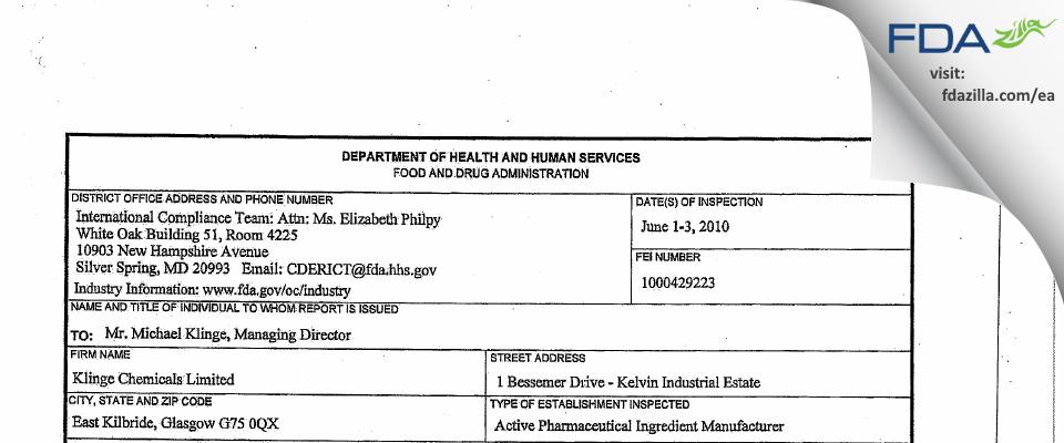 Klinge Chemicals FDA inspection 483 Jun 2010