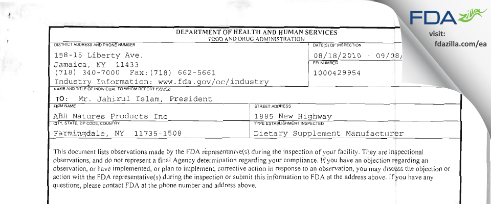 ABH Nature's Products FDA inspection 483 Aug 2010
