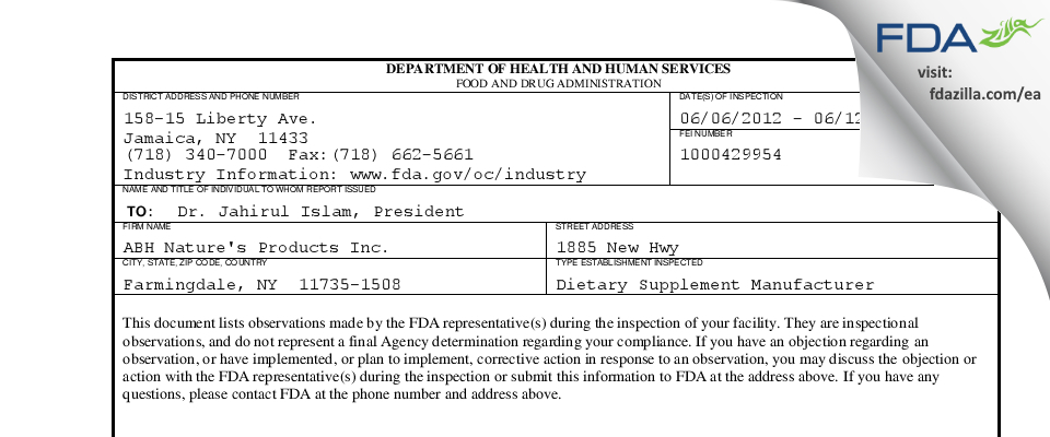 ABH Nature's Products FDA inspection 483 Jun 2012
