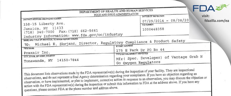 Praxair FDA inspection 483 Aug 2014
