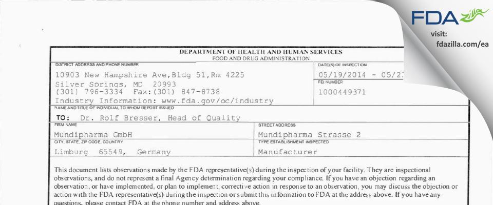 Mundipharma FDA inspection 483 May 2014