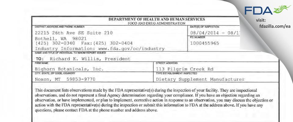 Bighorn Botanicals FDA inspection 483 Aug 2014