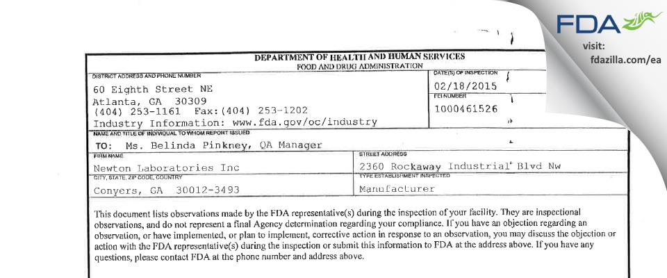 Newton Labs FDA inspection 483 Feb 2015