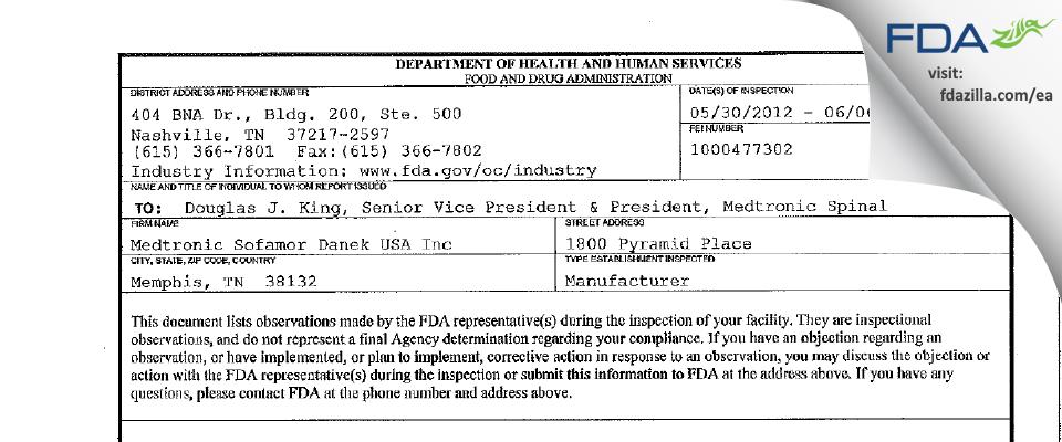 Medtronic Sofamor Danek USA FDA inspection 483 Jun 2012