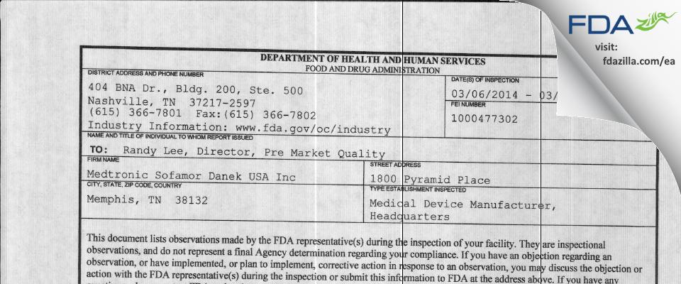 Medtronic Sofamor Danek USA FDA inspection 483 Mar 2014