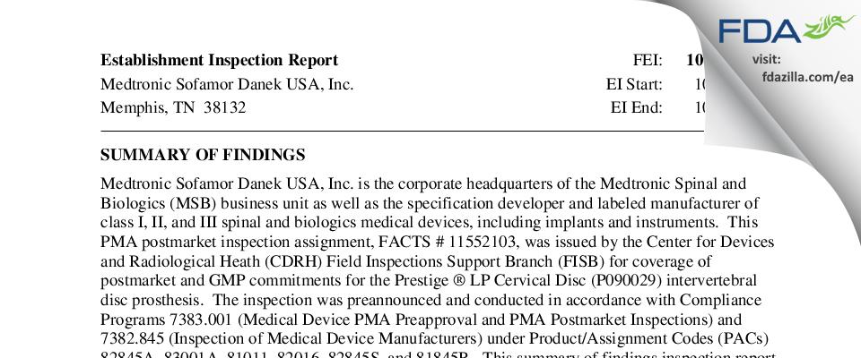 Medtronic Sofamor Danek USA FDA inspection 483 Oct 2015